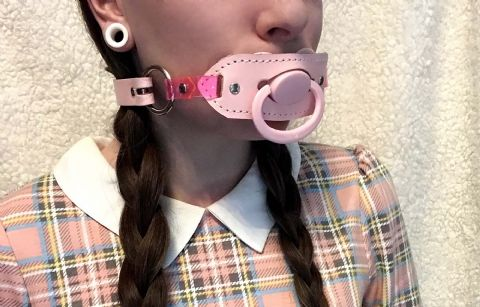 Leather AB/DL Mini Design Locking Pacifier Holder Gag and Pacifier